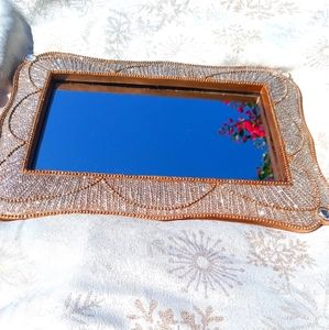 Beautiful Gold And Bling Mirrored Vanity Tray Set